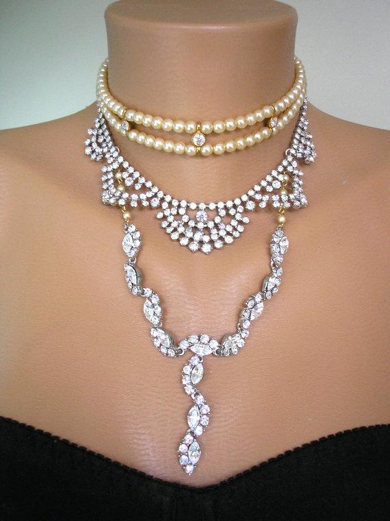 زفاف - Gatsby Bridal Necklace Pearl Choker Art Deco Statement Jewelry Rhinestone Bib Repurposed Upcycled Vintage Wedding Jewellery Edwardian Style