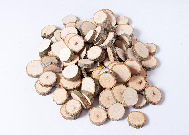 100 Small Slices 1 1 2 For Rustic Wedding Wooden Craft Discs