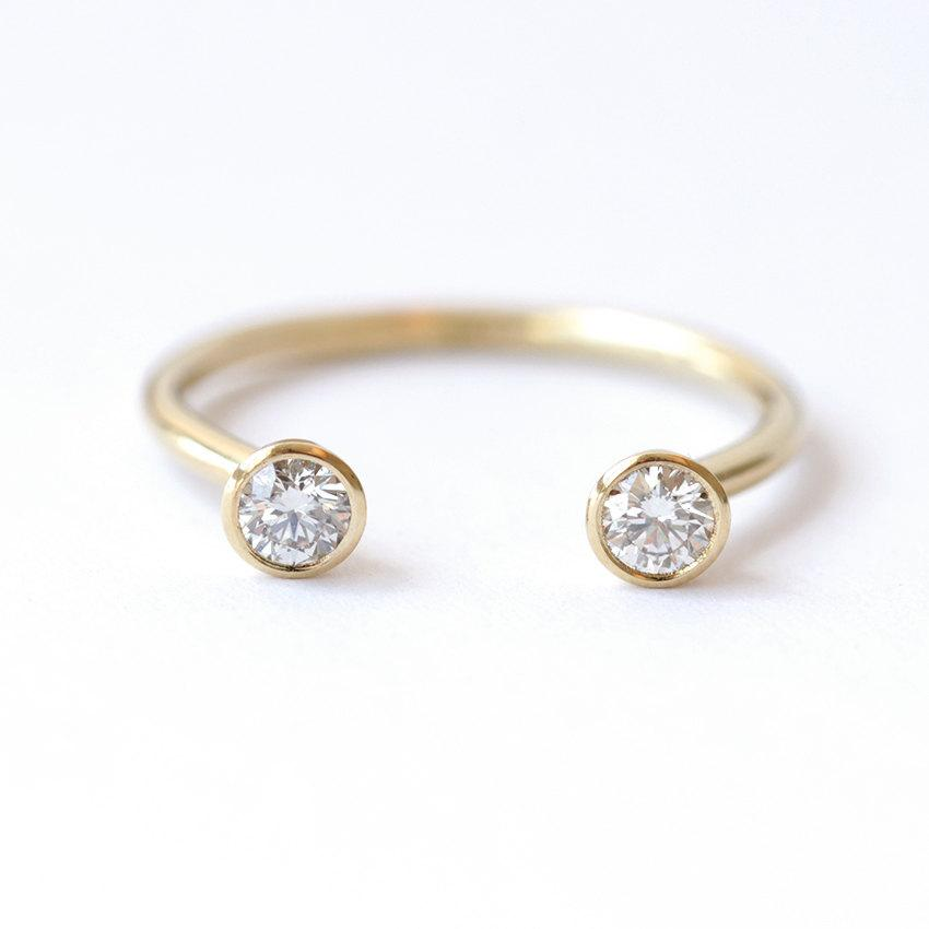 Wedding - Dual Stone Ring - Diamond Wedding Ring - Horseshoe Ring - 0.3 Carat Round Diamonds - 18k Gold