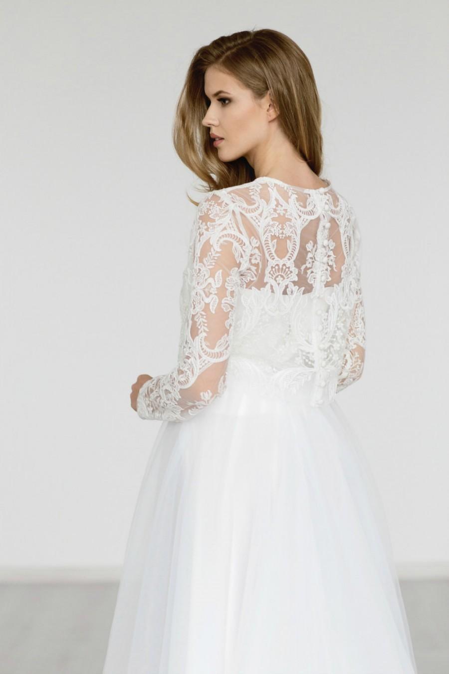 Bridal top long sleeves wedding top ivory bridal top for Long sleeve wedding dress topper