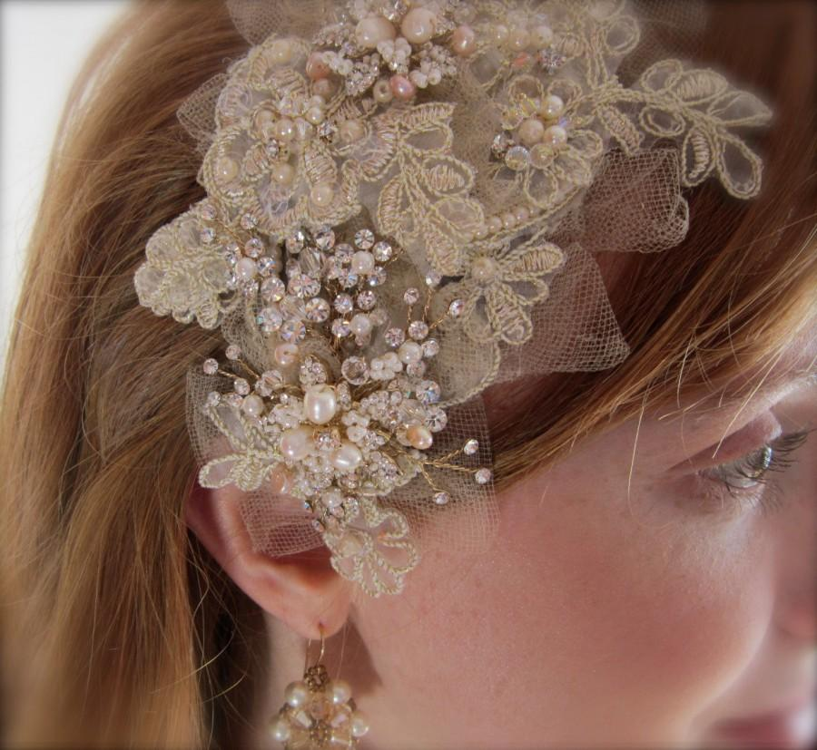 Свадьба - Vintage Inspired, Champagne Lace, Crystal, Shabby Chic,  Retro, OOAK Headpiece, Gold Bridal Crown-Charlie Girl-Custom Order