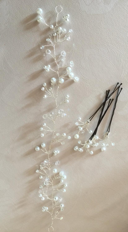 Mariage - Bridal wedding pearl and crystal hair vine with matching hair pins