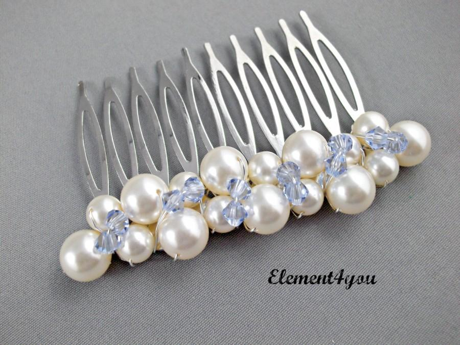 Свадьба - Something Blue Hair, Wedding, Bridal Comb, Swarovski white or ivory pearls, Sapphire crystals Clusters, Hair accessories, Bridesmaid comb