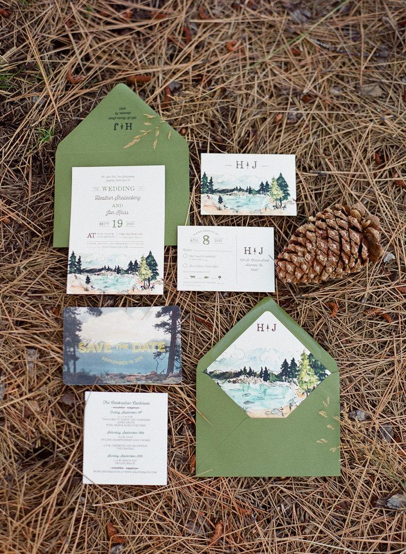 Свадьба - Rustic and Woodland Watercolor Wedding Invitation: Lake Tahoe
