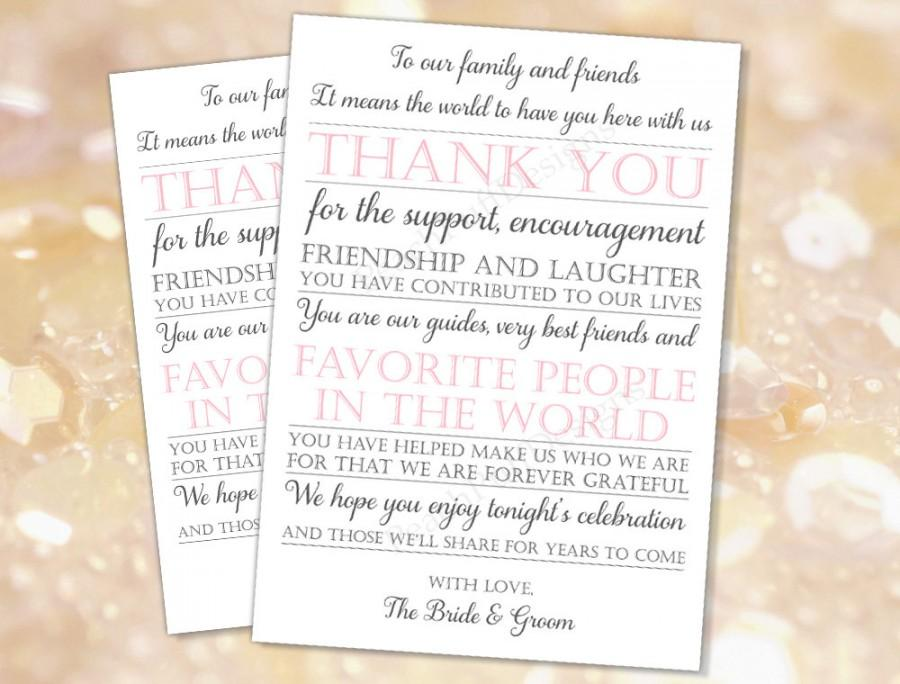 Wedding Reception Thank You Card Grey Pink Instant Download