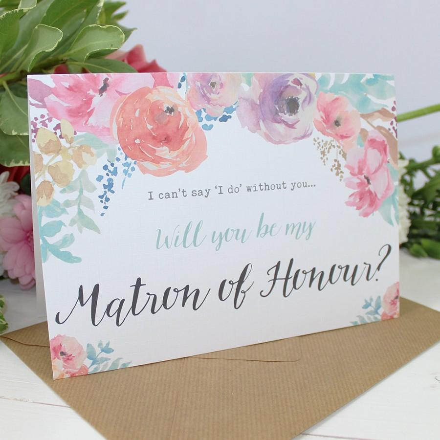 Wedding - Will you be my Matron of Honour? Card - Wedding - Watercolour Flowers