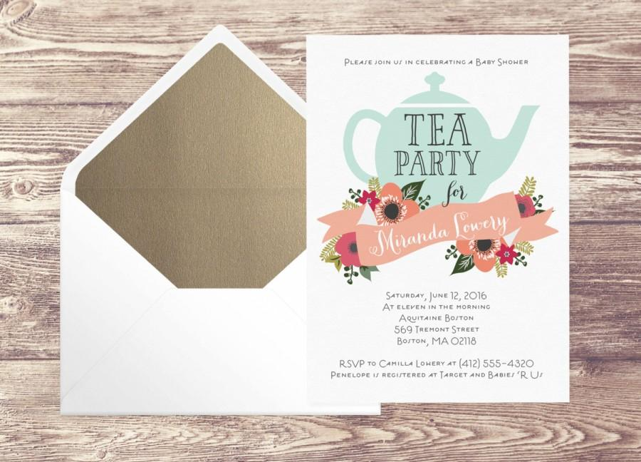 wedding printed baby shower tea party invitation with gold envelope