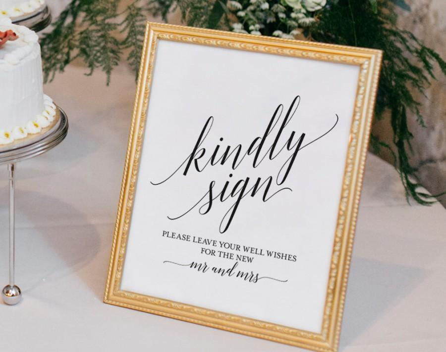 Hochzeit - Guest Book Alternative Sign, Guest Book Printable, Mr and Mrs Sign, Kindly Sign, Wedding Printable Sign, PDF Instant Download