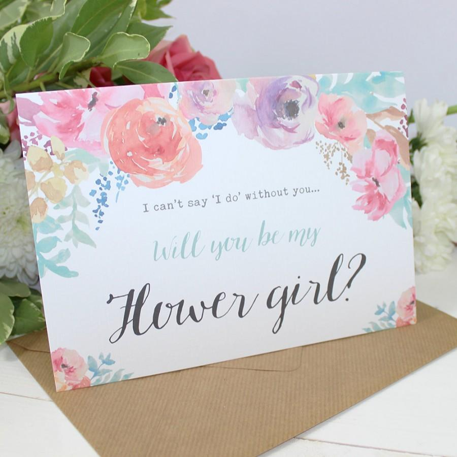Mariage - Will you be my Flower Girl Card - Wedding - Watercolour Flowers