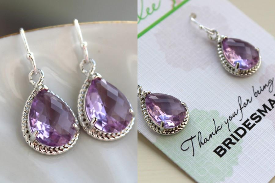 Silver Lavender Earrings Wedding Jewelry Purple Lilac Bridesmaid Gift Under 25