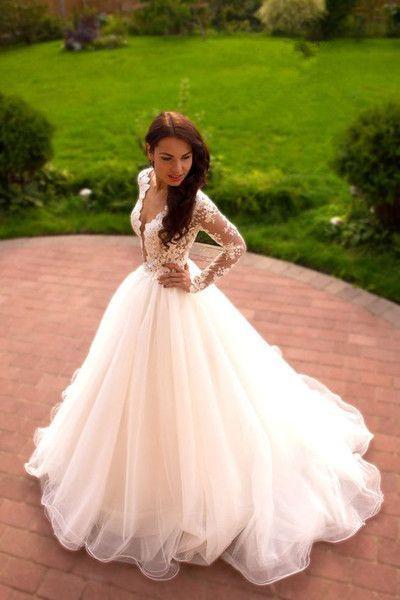Hochzeit - Romantic Wedding Dress,A-Line Wedding Dress,V-Neck Wedding Dress,Long-Sleeves Wedding Dress W20 From Pennystyle