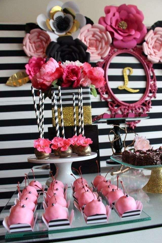 Black White Pink And A Little Golden Birthday Party Ideas