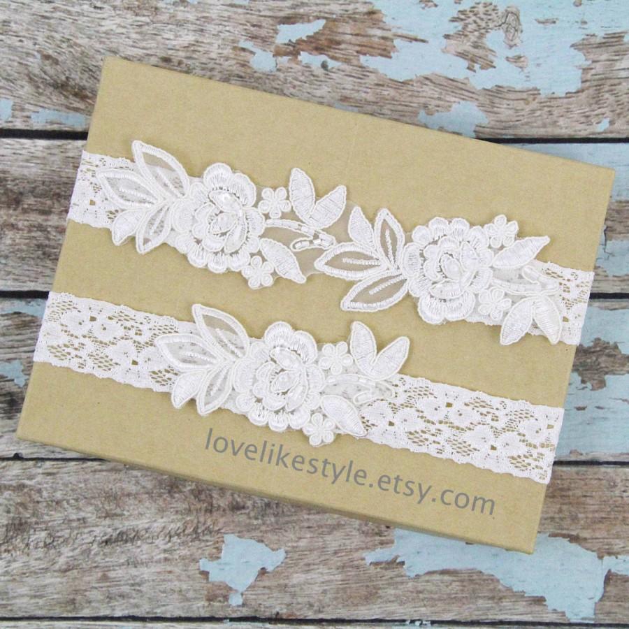 Свадьба - Wedding Garter Set, Ivory  Embroidery Flower Lace Wedding Garter Set, Ivory Garter Set, Toss Garter  / GT-34A
