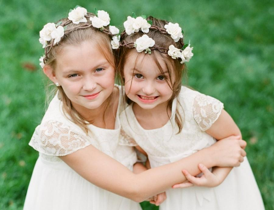 Mariage - Double Flower Crown Ivory Rose Circlet Rustic Wedding Flower Crown Flower Girl Headpiece Wedding Hair Accessory Maternity Photo Prop