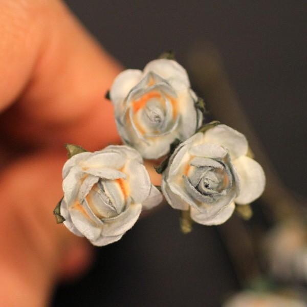 Свадьба - Moon Light Rose, Bridal Hair Accessories, Bohemian Wedding Hair Accessory,  Gray Hair Flower, Bridesmaid Hair Flower Bobby Pin - Set of 3