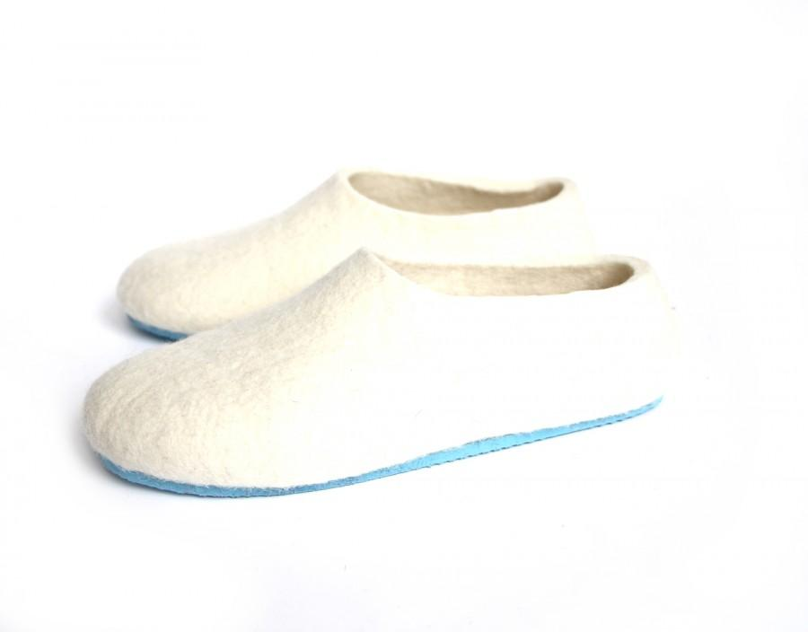 892c32aab03ce Women House Slippers, Organic White Slippers, Rubber Soles, Wedding ...