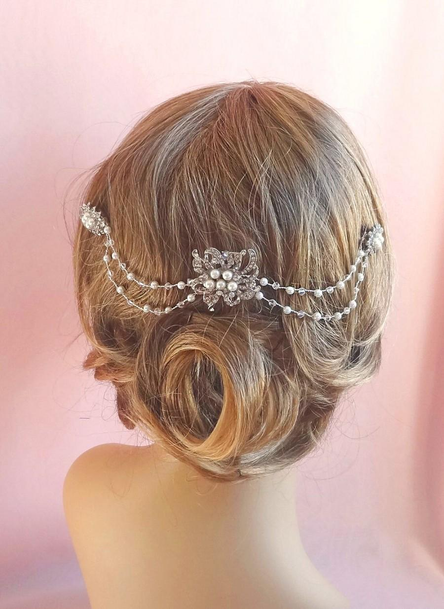 Mariage - Crystal bridal headpiece, wedding hair accessories crystal, pearl and rhinestone wedding hair piece,  pearls and crystals on wire Style 275