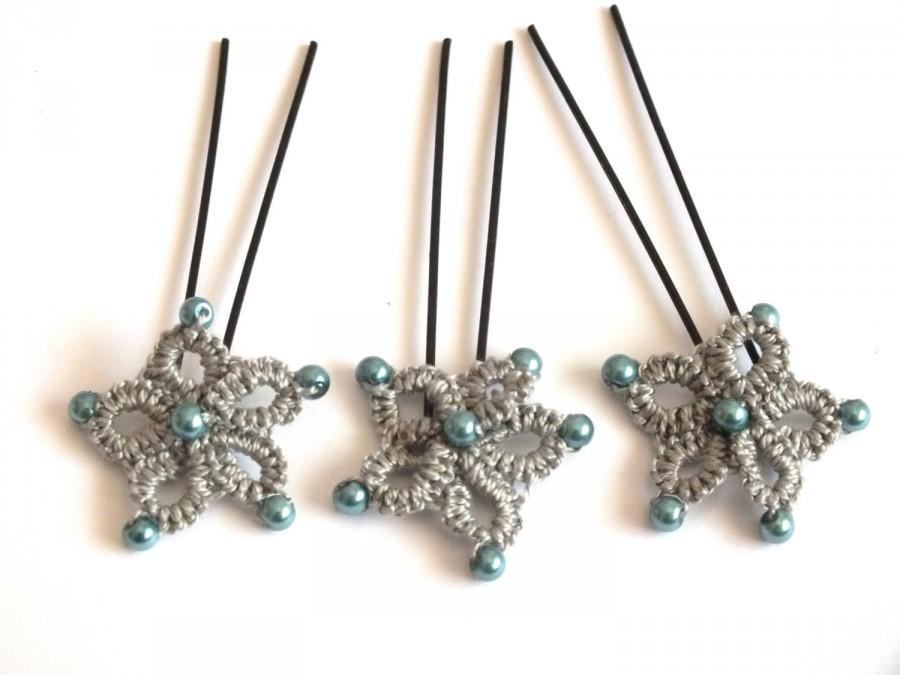 Mariage - Grey Tatting Bridal Hair Pins, Set of 3 Flower Tatted Hair Pins, Bridal Hair Pins, Set of 3 Tatted Wedding Hair Pins, Tatted Grey Bridal Pin