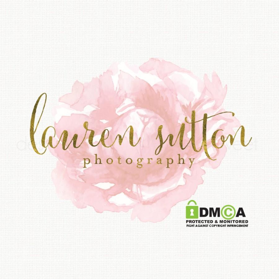 Premade Watercolor Rose Logo Design Gold Foil Logo Bespoke Logo