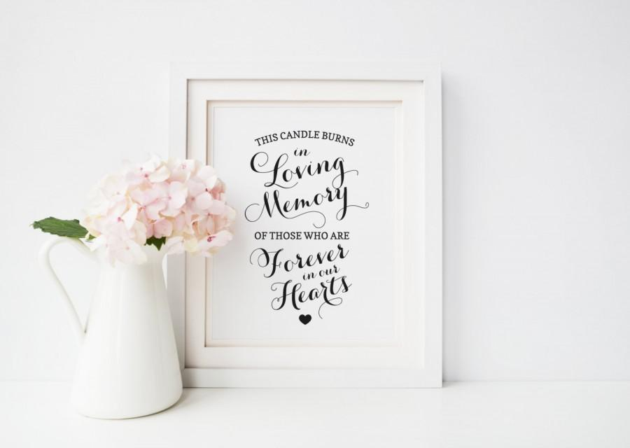 In Loving Memory Sign, Wedding Memorial Candle Sign, Forever In ...