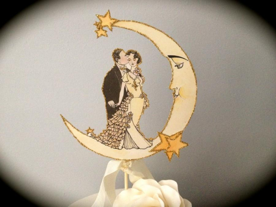 Свадьба - Wedding Cake Topper - Moon - Vintage Inspired - Featured in Brides Magazine - Gold Glitter