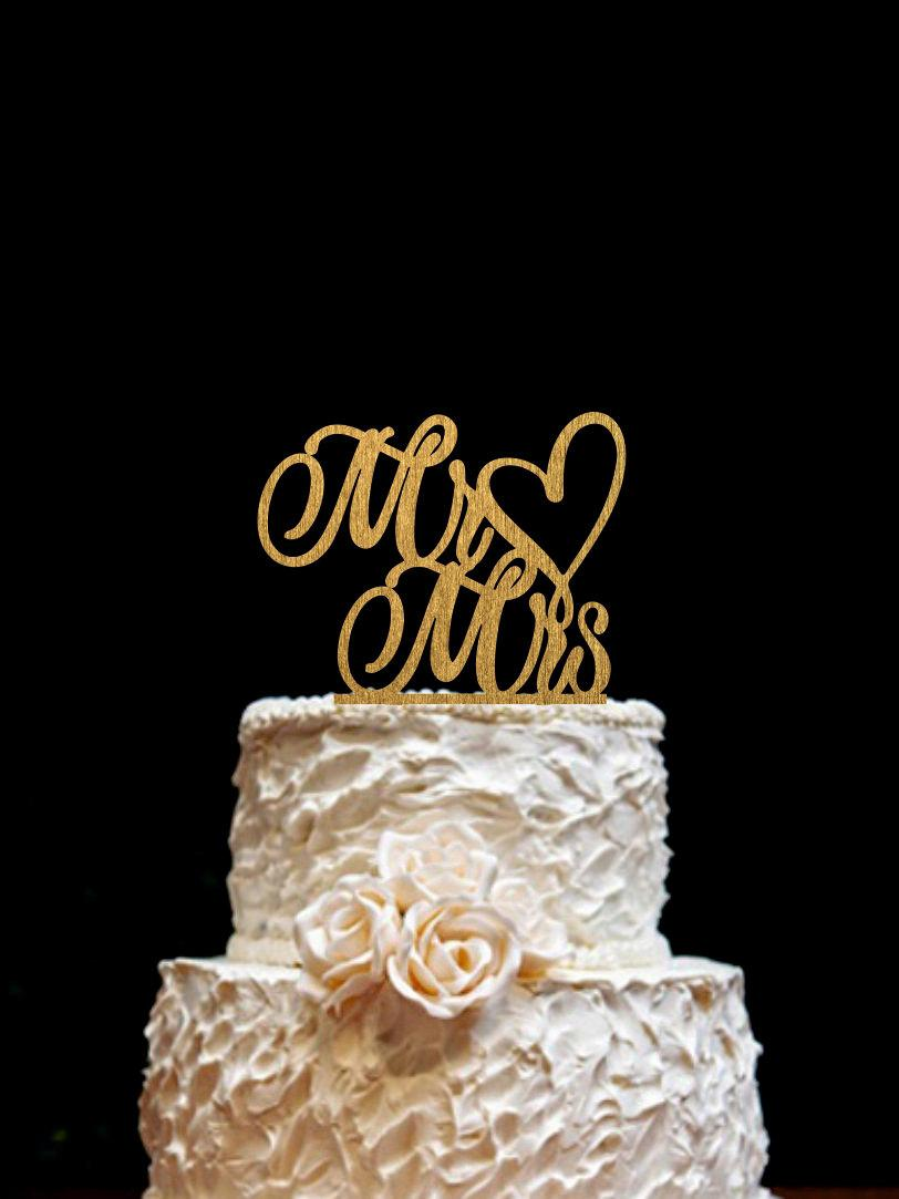 Wedding - Wedding Cake Toppe  Mr Mrs Wooden Cake Topper Love cake topper