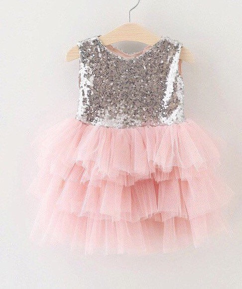 Mariage - Wedding Flower girls Voile Dress Sequins Sleeveless Sequined Bow .  Beatiful for first Birthday .