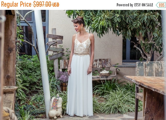 Christmas In July Bohemian Wedding Dress Lace With Chiffon Long Tail Skirt And French