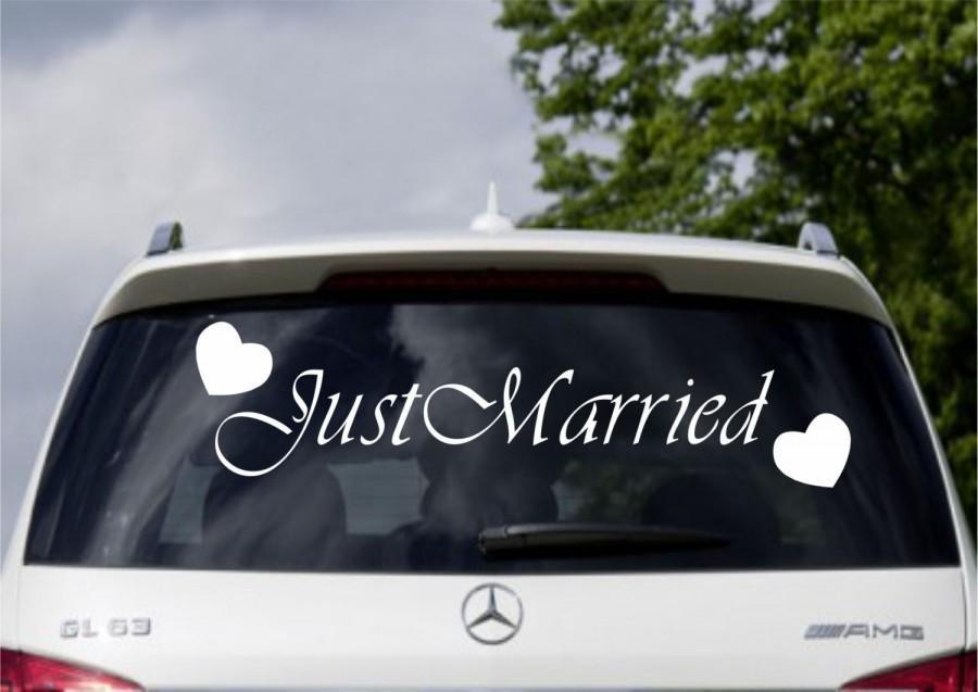 Hochzeit - Just Married Car Window Banner Vinyl Sticker Decal Wedding Sign