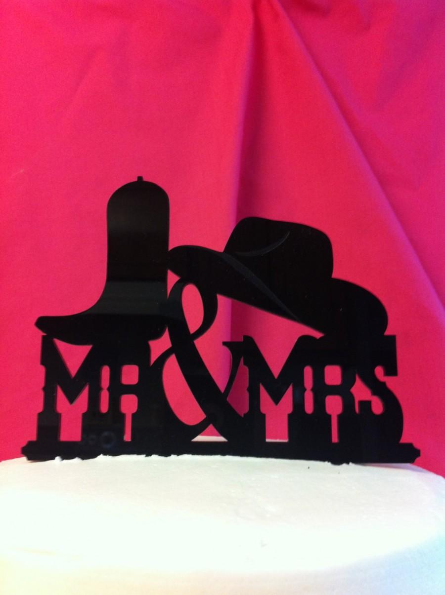 Свадьба - Western Wedding Cake Topper, Mr & Mrs Hat Boot Rustic - Country Western Font - Custom -Wedding Cake Topper MADE In USA…..Ships from USA
