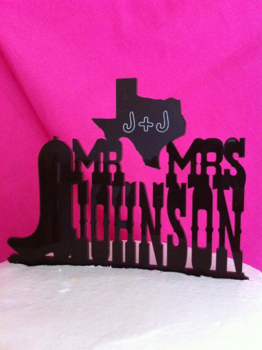 Свадьба - Rustic Country & Western Font Boot State Mr Mrs Custom Name Wedding Cake Topper MADE In USA…..Ships from USA