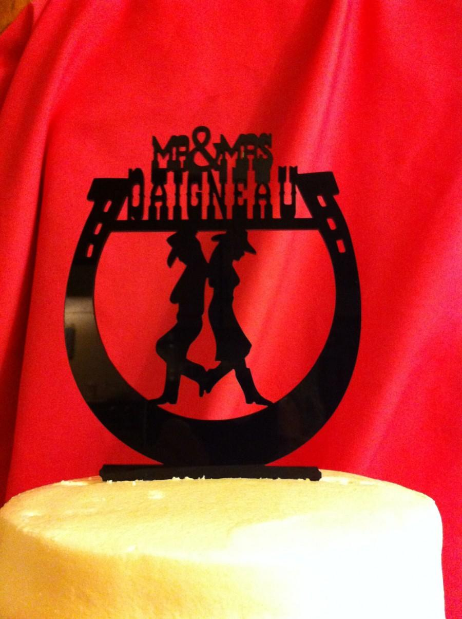 Свадьба - Western Horseshoe Silhouette Back to Back Couple Mr & Mrs Surname Personalized Wedding Cake Topper MADE In USA…..Ships from USA