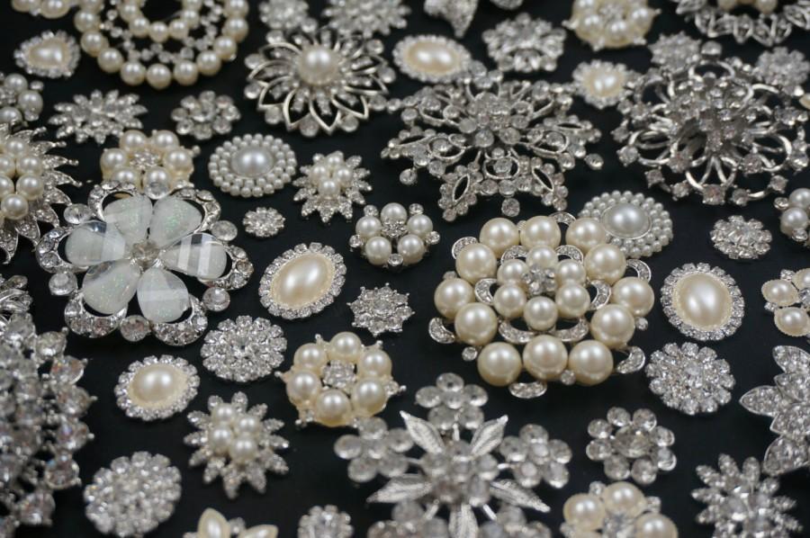 زفاف - Wholesale Bulk Lot 10-30 Rhinestone Crystal Pearl Flatback Buttons Bridal Wedding Bouquet