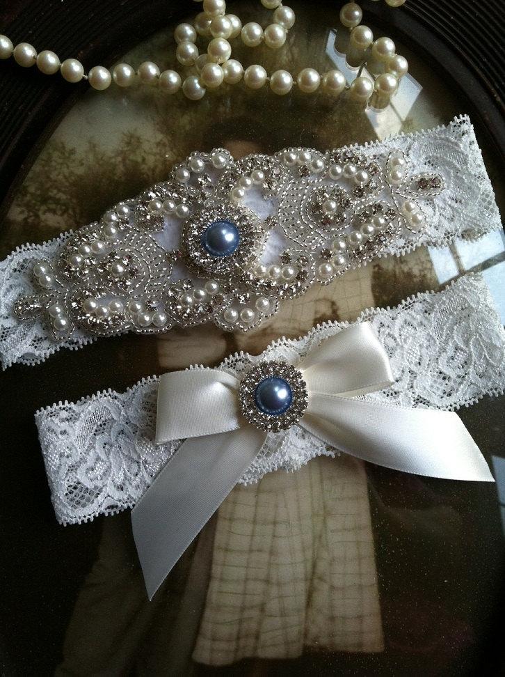 Свадьба - Wedding Garter-Garters-Bridal Garter-Blue-Pearl-garter-Keepsake-Something blue-Ivory Lace Garter Set-something blue-bridal white-off-white