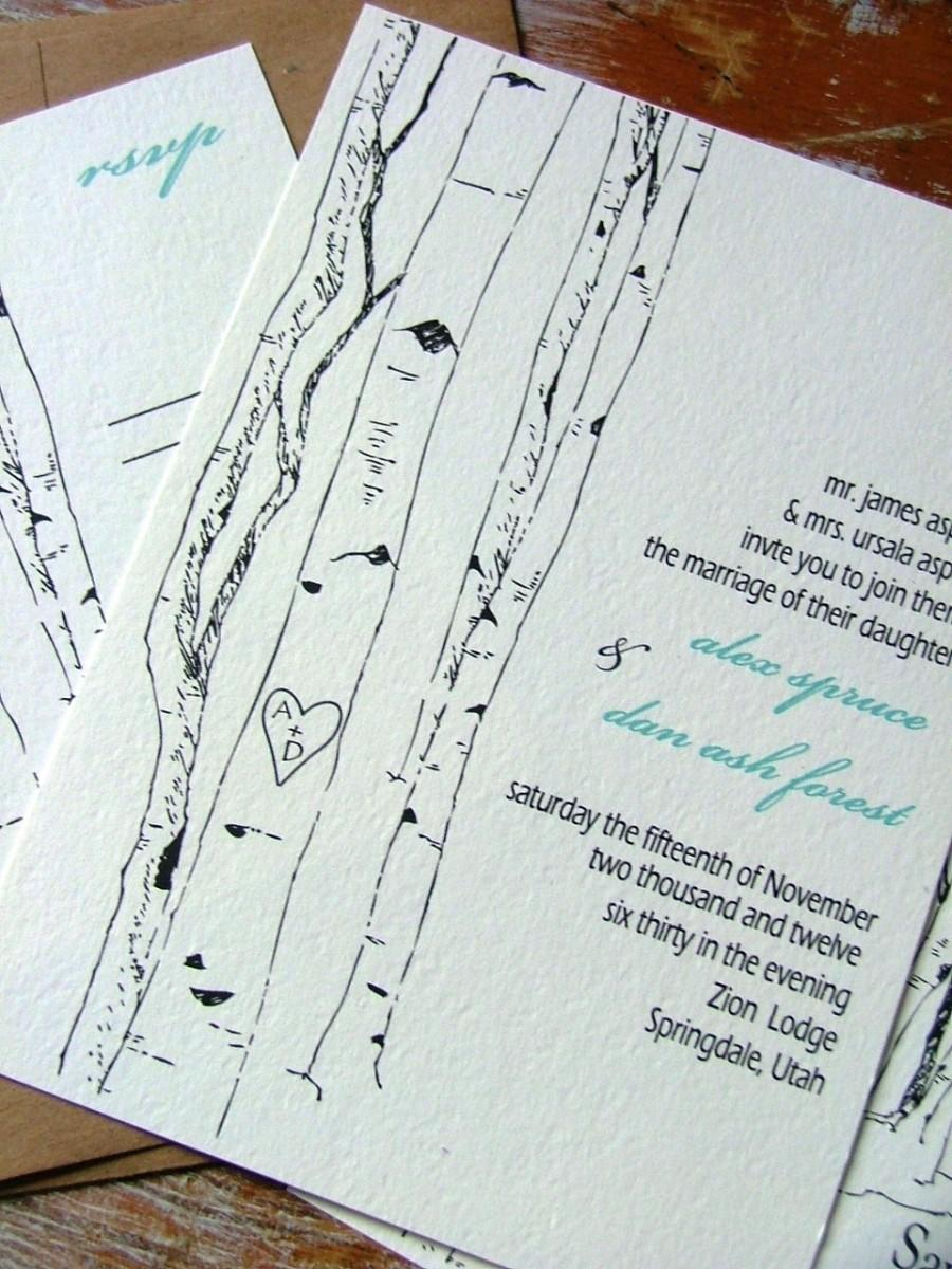 Hochzeit - Wedding Invitations: Aspen Woodland Trees
