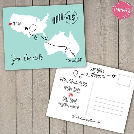 Destination Wedding Save The Date Postcard Travel Theme Custom – Wedding Save the Date Postcards