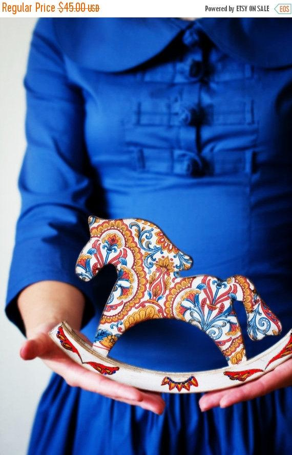 Cij Ethnic Rocking Horse Wooden Toy Home Decor Baby Shower Gift Vintage
