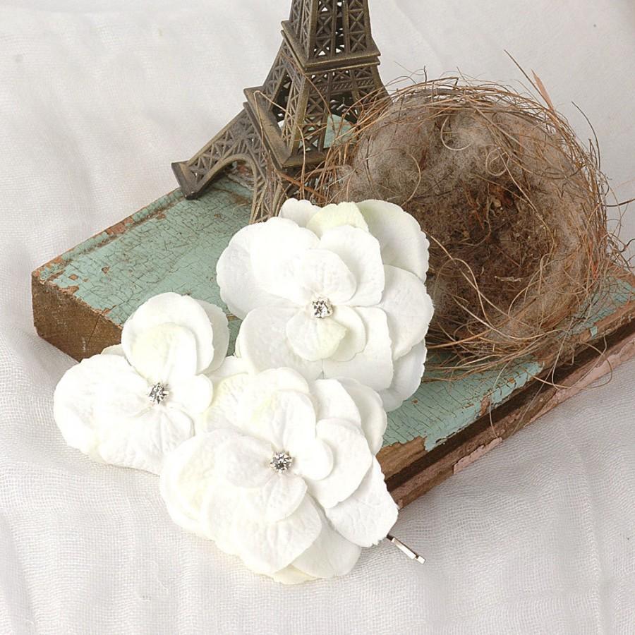 Wedding Flower Hair Pins Rustic Floral Bobby Pins Hydrangea Hair