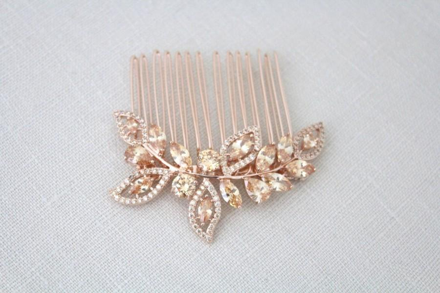 Mariage - Rose Gold Bridal hair comb, Champagne Crystal hair comb, Rose Gold headpiece, Champagne crystal headpiece, Leaf hair piece, Champagne stone