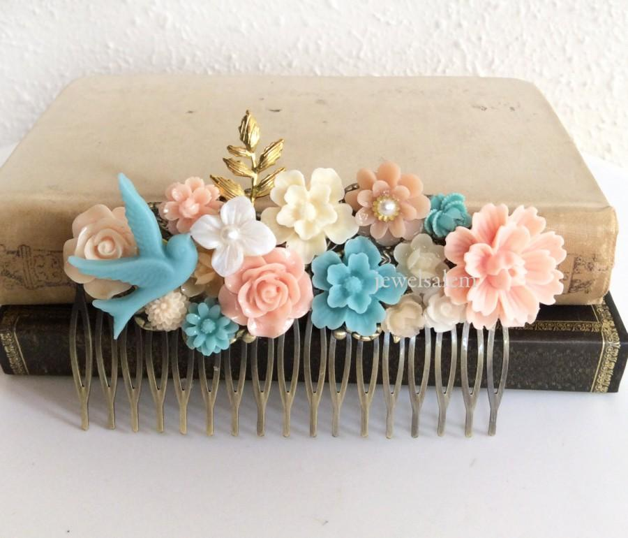 Mariage - Coral Turquoise Wedding Peach Pink Hair Comb Pale Floral Headpiece Flower Bridesmaids Gold Blush Pastel Colors Soft Romantic Shabby Chic