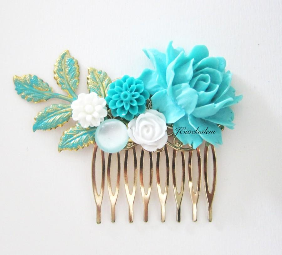 Wedding - Turquoise Hair Comb Blue Gold Wedding Headpiece Sea Foam Bridesmaid Comb Bridal Hair Accessories Leaf Floral Shabby Chic Hair Slide for Prom