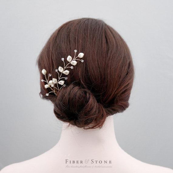 Mariage - Swarovski Pearl Wedding Hair Jewelry, Bridal Hair Accessory, Swarovski Bridal Hair Vine, Bridal Hair Jewelry, Wedding Headband, Silver Pearl