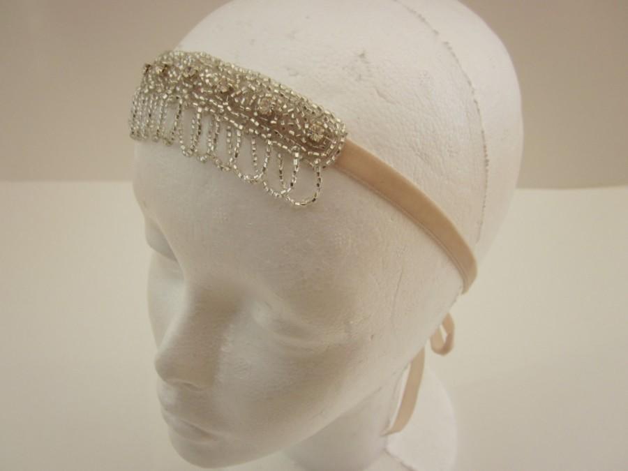 Hochzeit - 1920s Headpiece Gatsby Headband Flapper Hair Accessories Gatsby 1920 Hair Accessories Silver
