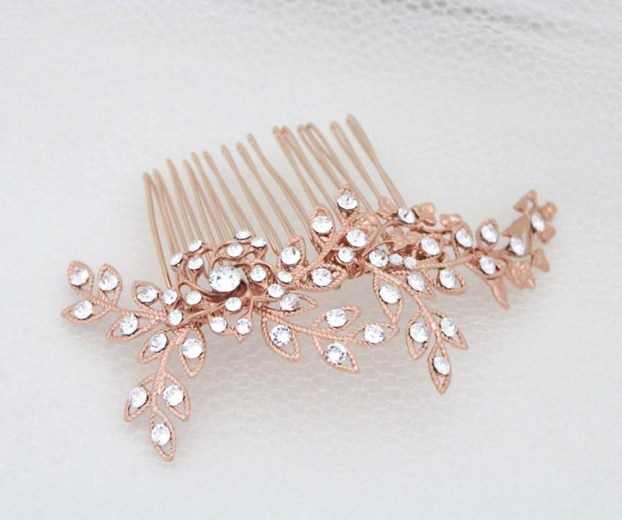 JENNIFER Gold bridal hair comb crystal hairpiece