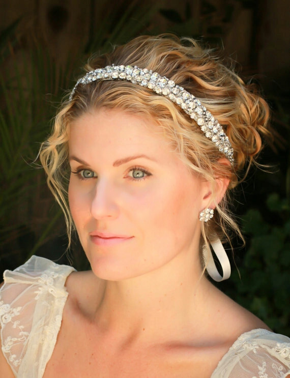 Свадьба - Molly Rhinestone wedding headband, bridal headband, bridal hair accessories, wedding accessories