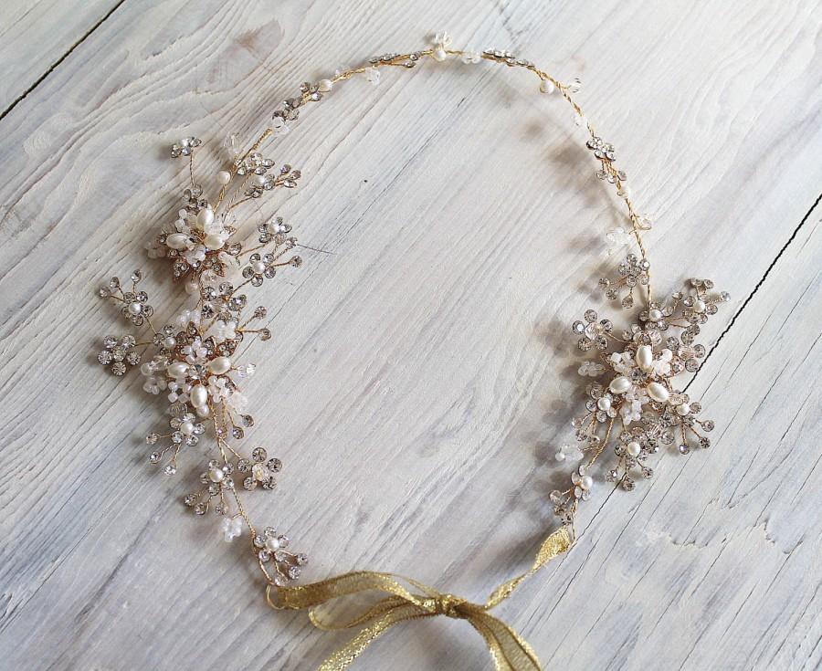 Mariage - Gold or Silver Leaf Vine Wedding Headpiece. Boho Delicate Crystal Pearl Floral Bridal Wreath. Halo Headband. Rhinestone Hairpiece.  MARIE