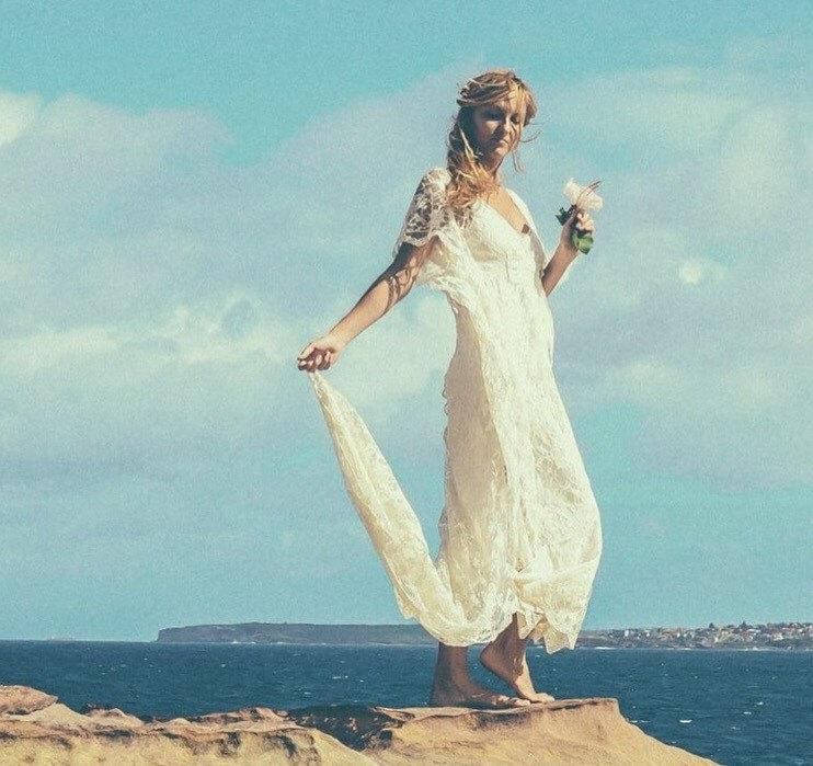 Mariage - Bohemian Lace Beaded Train Bridal Kaftan, Vintage Beach Wedding