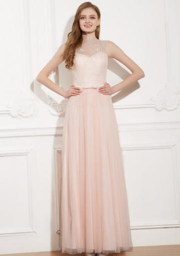 Wedding - Sleeveless Straps Pink Ruched A-line Chiffon Open Back Floor Length