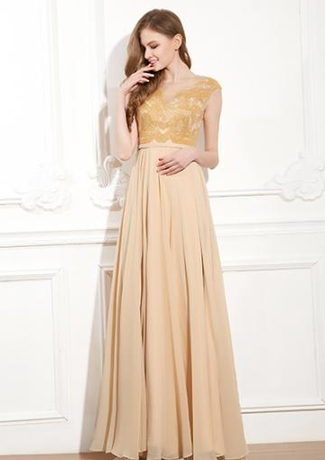 Wedding - Chiffon Champagne A-line V-neck Appliques Zipper Ruched Sleeveless Floor Length