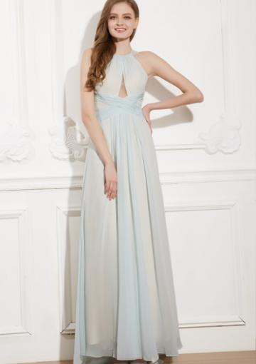 Свадьба - Halter A-line Blue Sleeveless Floor Length Open Back Chiffon Ruched